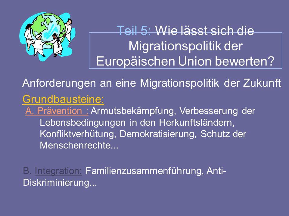 Teil 5: Wie lässt sich die Migrationspolitik der Europäischen Union bewerten? Anforderungen an eine Migrationspolitik der Zukunft Grundbausteine: A. P