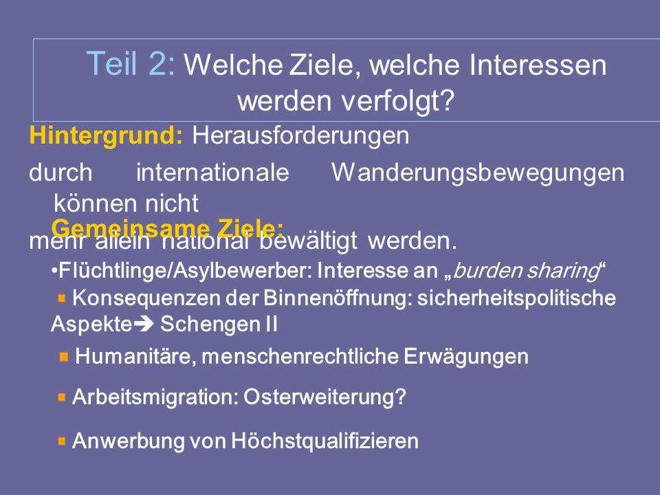 Teil 2: Welche Ziele, welche Interessen werden verfolgt? Hintergrund: Herausforderungen durch internationale Wanderungsbewegungen können nicht mehr al