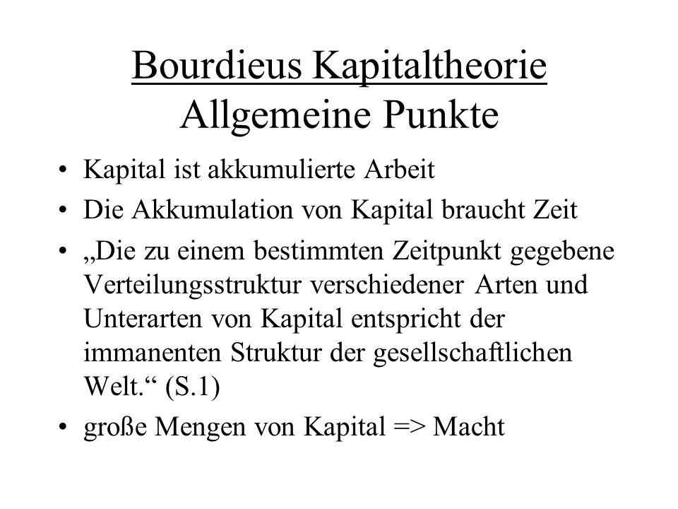 """Bourdieus Kapitaltheorie Allgemeine Punkte Kapital ist akkumulierte Arbeit Die Akkumulation von Kapital braucht Zeit """"Die zu einem bestimmten Zeitpunk"""