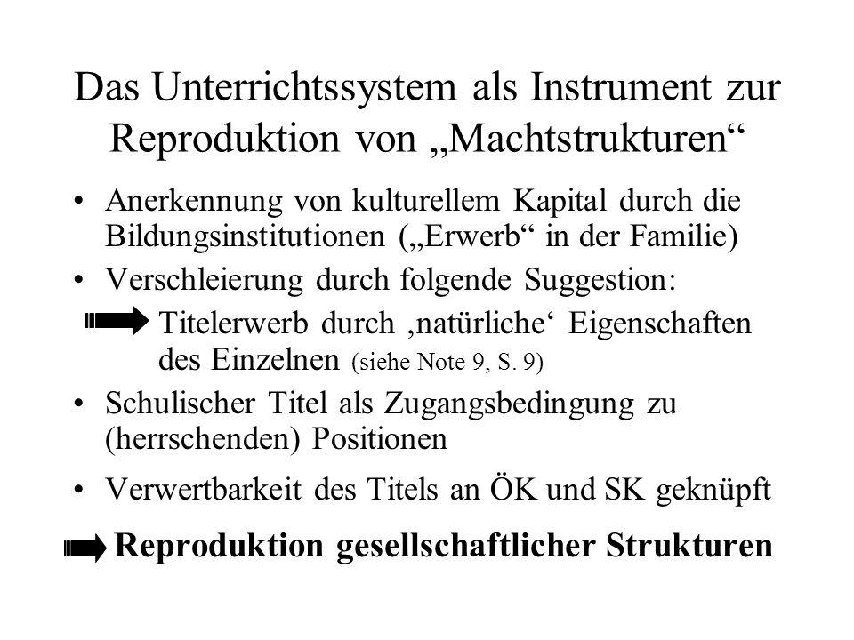 """Das Unterrichtssystem als Instrument zur Reproduktion von """"Machtstrukturen"""" Anerkennung von kulturellem Kapital durch die Bildungsinstitutionen (""""Erwe"""