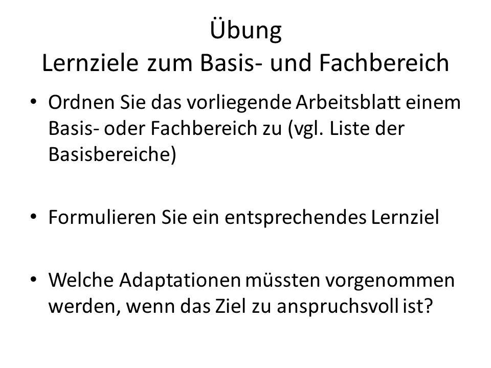 Übung Lernziele zum Basis- und Fachbereich Ordnen Sie das vorliegende Arbeitsblatt einem Basis- oder Fachbereich zu (vgl. Liste der Basisbereiche) For