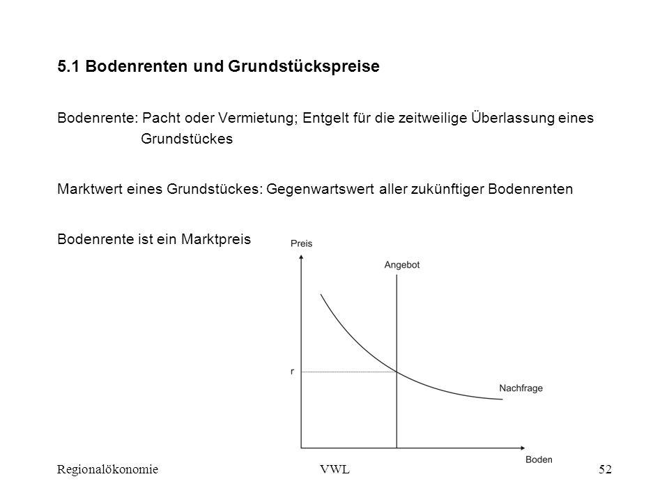 RegionalökonomieVWL52 5.1 Bodenrenten und Grundstückspreise Bodenrente: Pacht oder Vermietung; Entgelt für die zeitweilige Überlassung eines Grundstüc