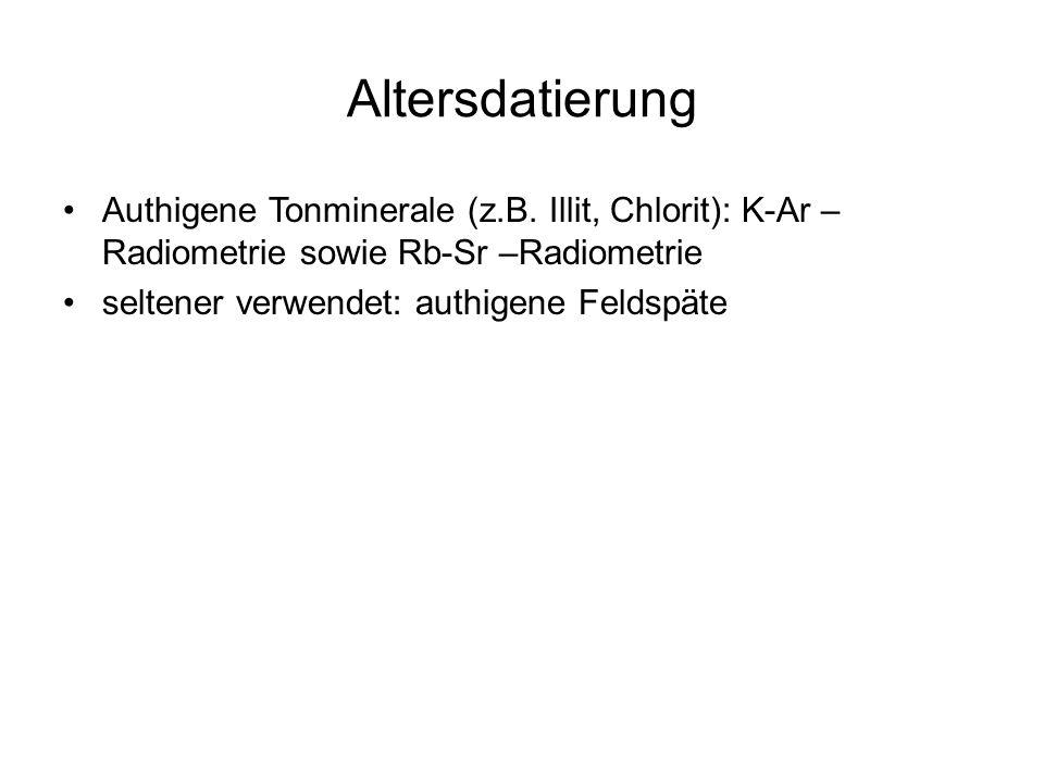 Altersdatierung Authigene Tonminerale (z.B. Illit, Chlorit): K-Ar – Radiometrie sowie Rb-Sr –Radiometrie seltener verwendet: authigene Feldspäte