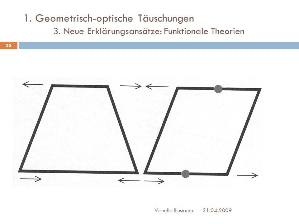 1. Geometrisch-optische Täuschungen 3. Neue Erklärungsansätze: Funktionale Theorien 21.04.2009Visuelle Illusionen 35