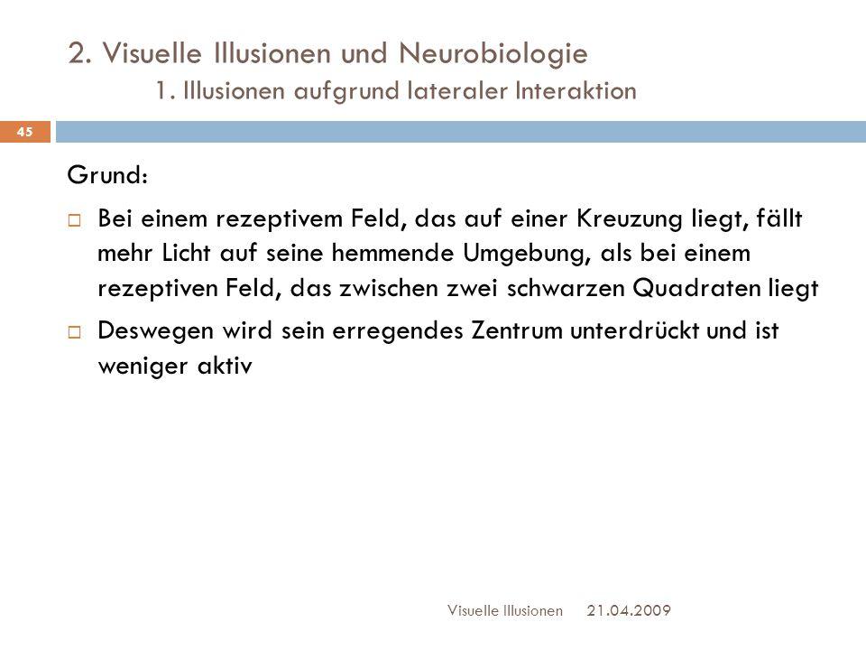 2. Visuelle Illusionen und Neurobiologie 1. Illusionen aufgrund lateraler Interaktion 21.04.2009Visuelle Illusionen 45 Grund:  Bei einem rezeptivem F