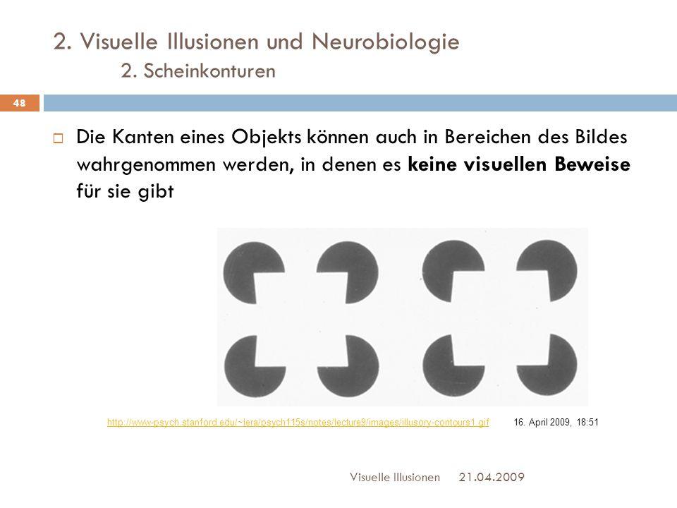 2. Visuelle Illusionen und Neurobiologie 2. Scheinkonturen 21.04.2009Visuelle Illusionen 48  Die Kanten eines Objekts können auch in Bereichen des Bi