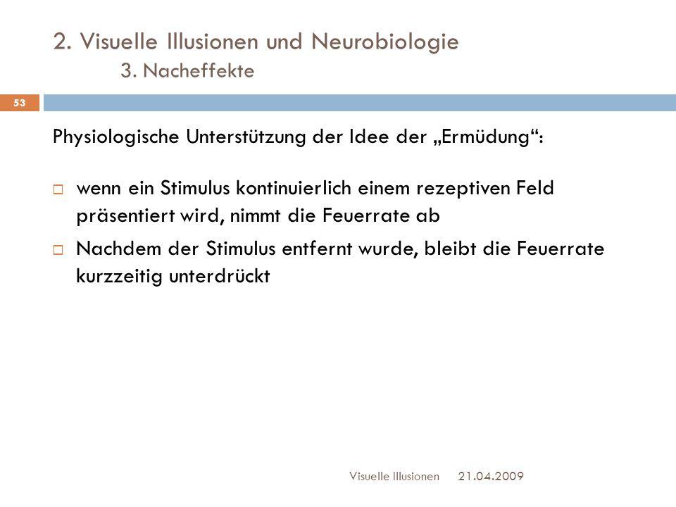 """2. Visuelle Illusionen und Neurobiologie 3. Nacheffekte Physiologische Unterstützung der Idee der """"Ermüdung"""":  wenn ein Stimulus kontinuierlich einem"""