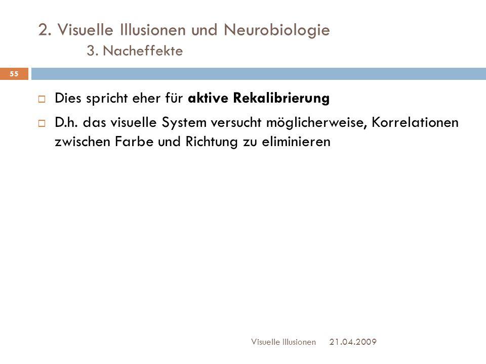 2. Visuelle Illusionen und Neurobiologie 3. Nacheffekte  Dies spricht eher für aktive Rekalibrierung  D.h. das visuelle System versucht möglicherwei