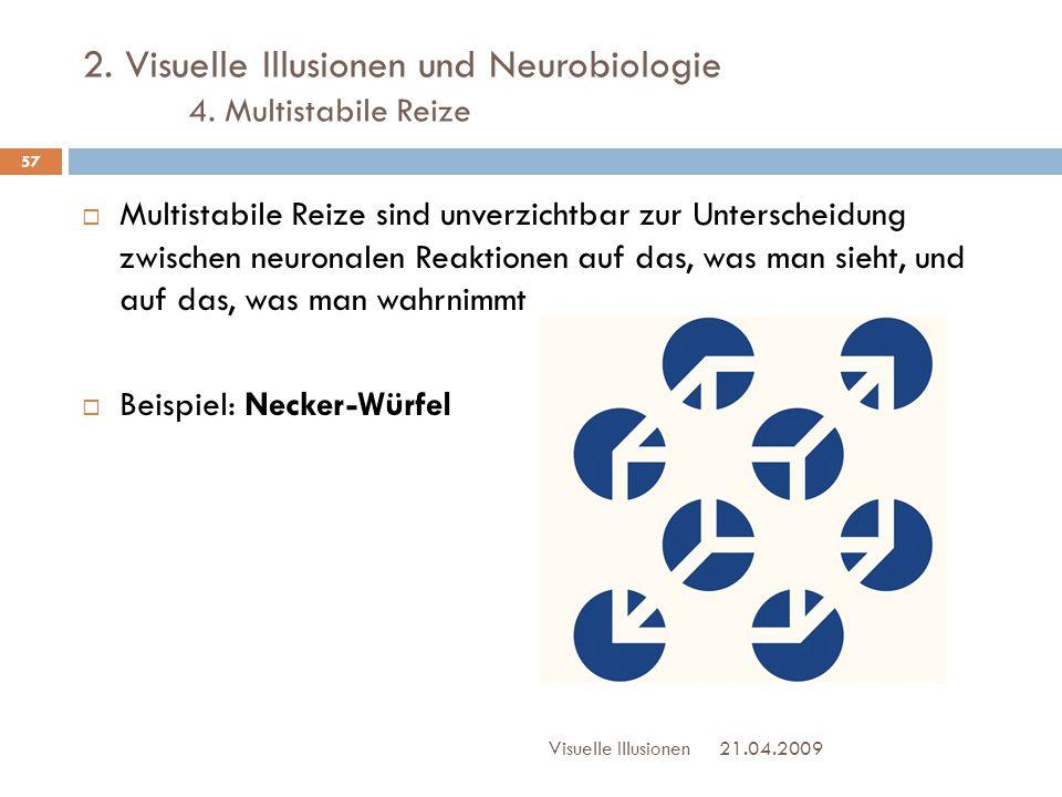 2. Visuelle Illusionen und Neurobiologie 4. Multistabile Reize  Multistabile Reize sind unverzichtbar zur Unterscheidung zwischen neuronalen Reaktion