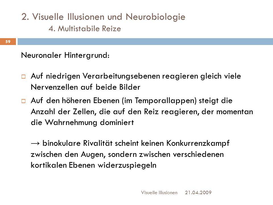 2. Visuelle Illusionen und Neurobiologie 4. Multistabile Reize Neuronaler Hintergrund:  Auf niedrigen Verarbeitungsebenen reagieren gleich viele Nerv