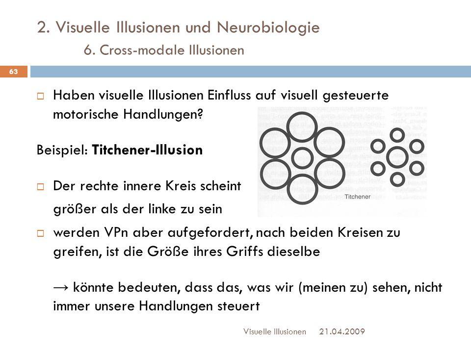 2. Visuelle Illusionen und Neurobiologie 6. Cross-modale Illusionen  Haben visuelle Illusionen Einfluss auf visuell gesteuerte motorische Handlungen?