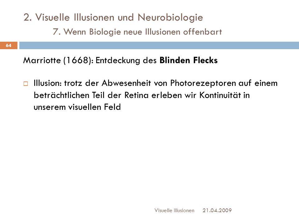 2. Visuelle Illusionen und Neurobiologie 7. Wenn Biologie neue Illusionen offenbart Marriotte (1668): Entdeckung des Blinden Flecks  Illusion: trotz