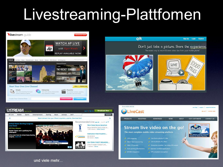 Livestreaming-Plattfomen und viele mehr...
