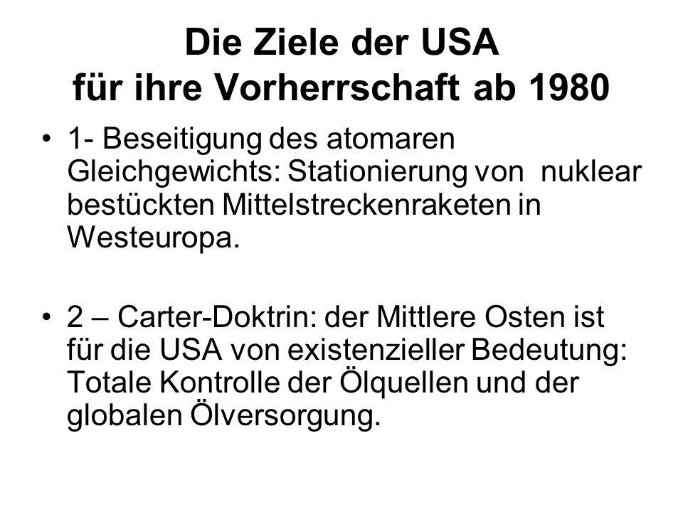 Die Ziele der USA für ihre Vorherrschaft ab 1980 1- Beseitigung des atomaren Gleichgewichts: Stationierung von nuklear bestückten Mittelstreckenrakete