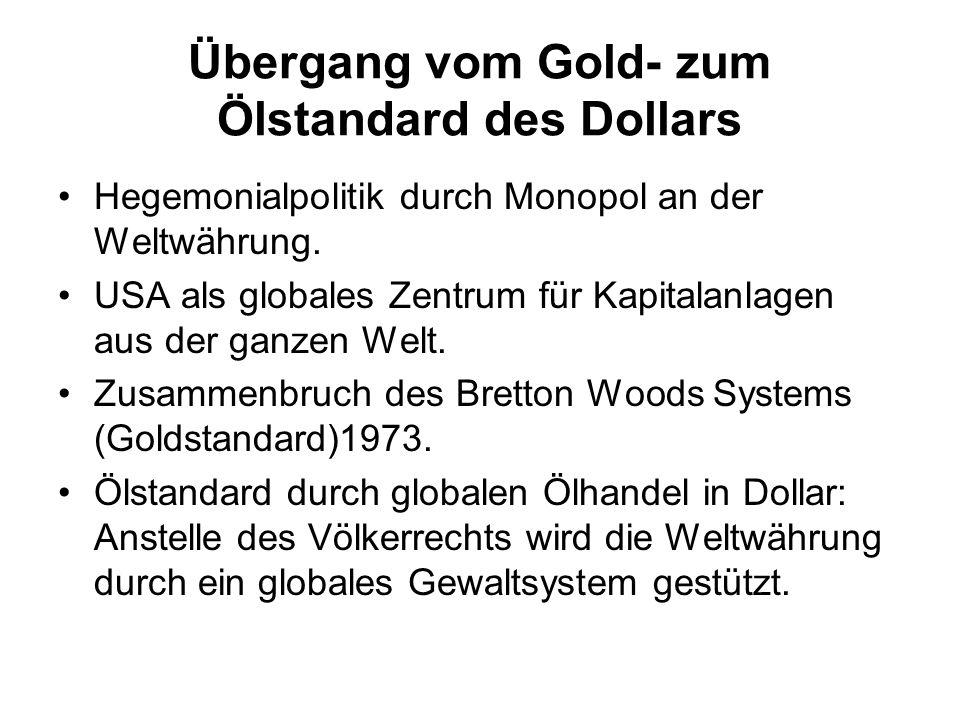 Übergang vom Gold- zum Ölstandard des Dollars Hegemonialpolitik durch Monopol an der Weltwährung. USA als globales Zentrum für Kapitalanlagen aus der