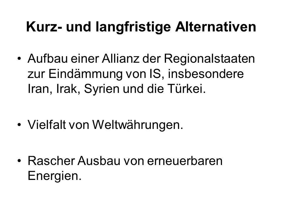 Kurz- und langfristige Alternativen Aufbau einer Allianz der Regionalstaaten zur Eindämmung von IS, insbesondere Iran, Irak, Syrien und die Türkei. Vi