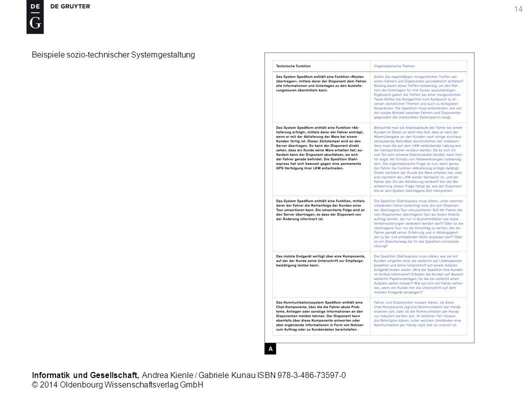 Informatik und Gesellschaft, Andrea Kienle / Gabriele Kunau ISBN 978-3-486-73597-0 © 2014 Oldenbourg Wissenschaftsverlag GmbH 14 Beispiele sozio-technischer Systemgestaltung