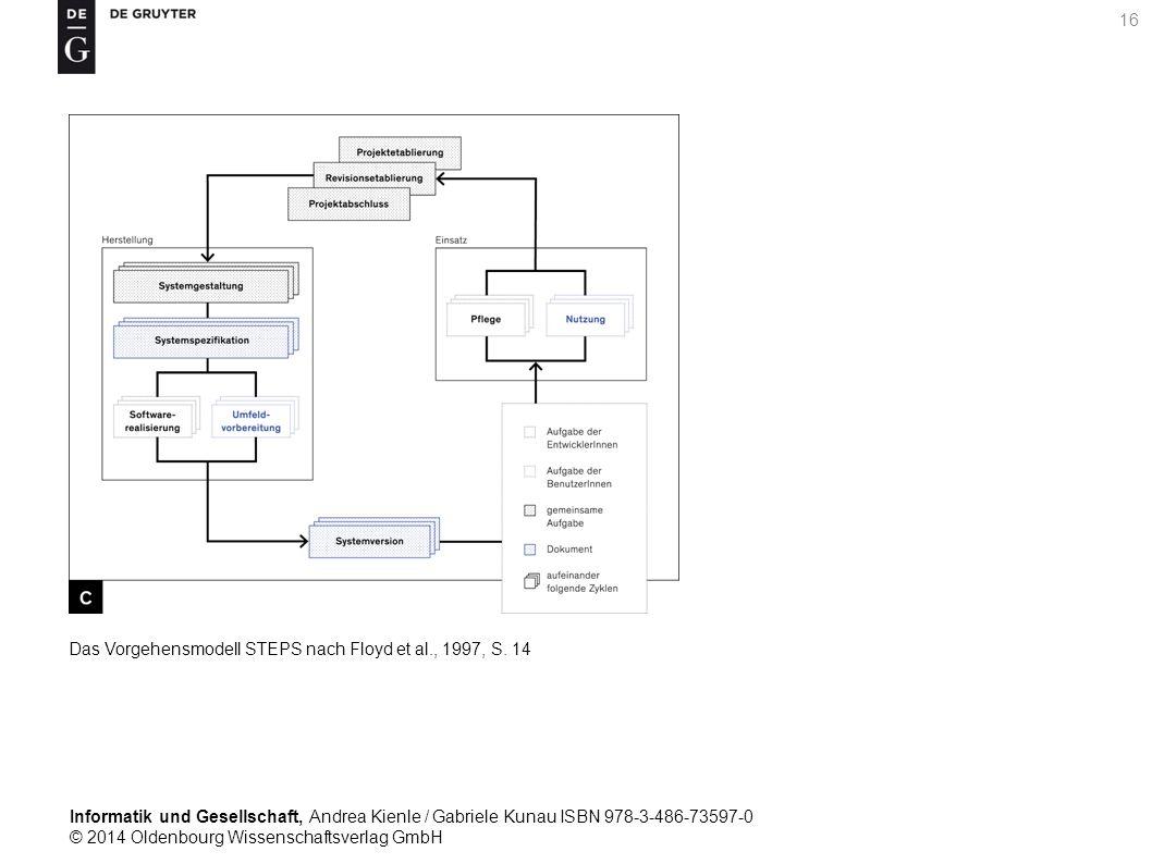 Informatik und Gesellschaft, Andrea Kienle / Gabriele Kunau ISBN 978-3-486-73597-0 © 2014 Oldenbourg Wissenschaftsverlag GmbH 16 Das Vorgehensmodell STEPS nach Floyd et al., 1997, S.