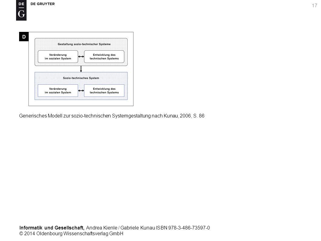 Informatik und Gesellschaft, Andrea Kienle / Gabriele Kunau ISBN 978-3-486-73597-0 © 2014 Oldenbourg Wissenschaftsverlag GmbH 17 Generisches Modell zur sozio-technischen Systemgestaltung nach Kunau, 2006, S.