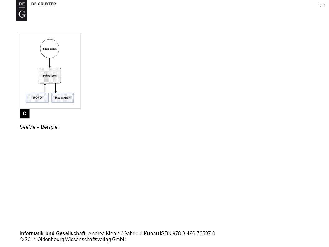 Informatik und Gesellschaft, Andrea Kienle / Gabriele Kunau ISBN 978-3-486-73597-0 © 2014 Oldenbourg Wissenschaftsverlag GmbH 20 SeeMe – Beispiel