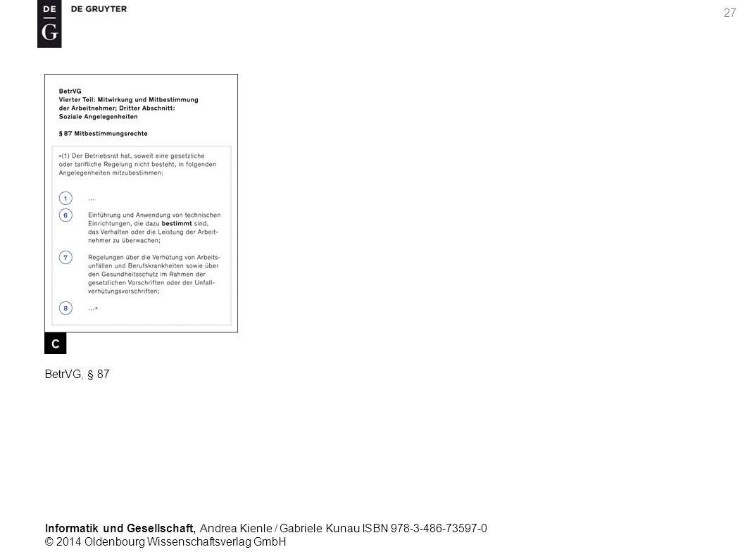 Informatik und Gesellschaft, Andrea Kienle / Gabriele Kunau ISBN 978-3-486-73597-0 © 2014 Oldenbourg Wissenschaftsverlag GmbH 27 BetrVG, § 87