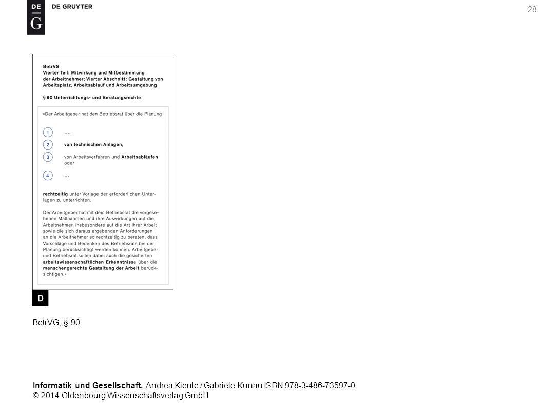 Informatik und Gesellschaft, Andrea Kienle / Gabriele Kunau ISBN 978-3-486-73597-0 © 2014 Oldenbourg Wissenschaftsverlag GmbH 28 BetrVG, § 90