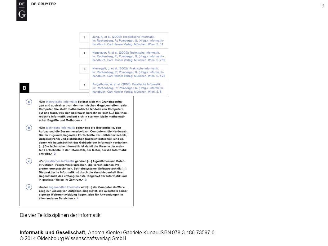 Informatik und Gesellschaft, Andrea Kienle / Gabriele Kunau ISBN 978-3-486-73597-0 © 2014 Oldenbourg Wissenschaftsverlag GmbH 3 Die vier Teildisziplinen der Informatik