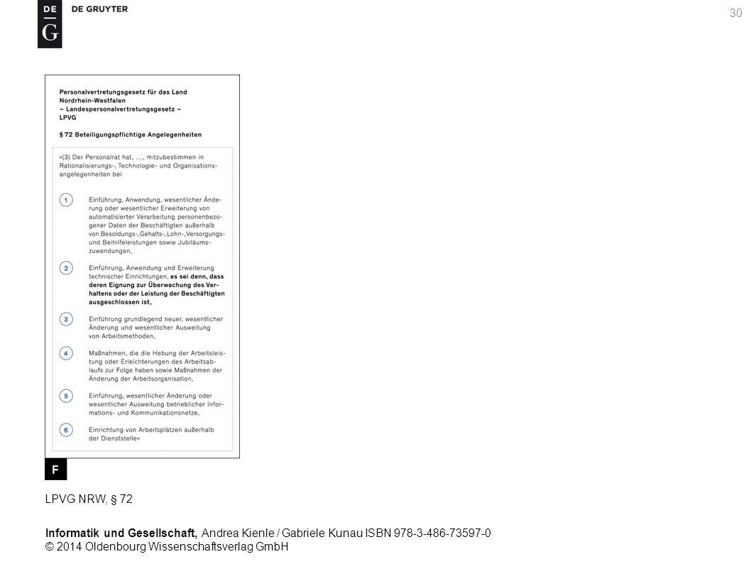 Informatik und Gesellschaft, Andrea Kienle / Gabriele Kunau ISBN 978-3-486-73597-0 © 2014 Oldenbourg Wissenschaftsverlag GmbH 30 LPVG NRW, § 72