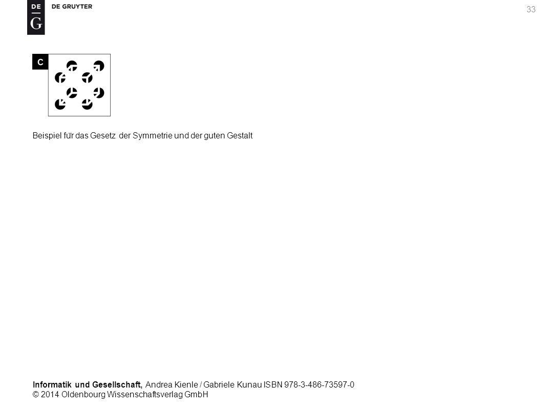 Informatik und Gesellschaft, Andrea Kienle / Gabriele Kunau ISBN 978-3-486-73597-0 © 2014 Oldenbourg Wissenschaftsverlag GmbH 33 Beispiel fu ̈ r das Gesetz der Symmetrie und der guten Gestalt