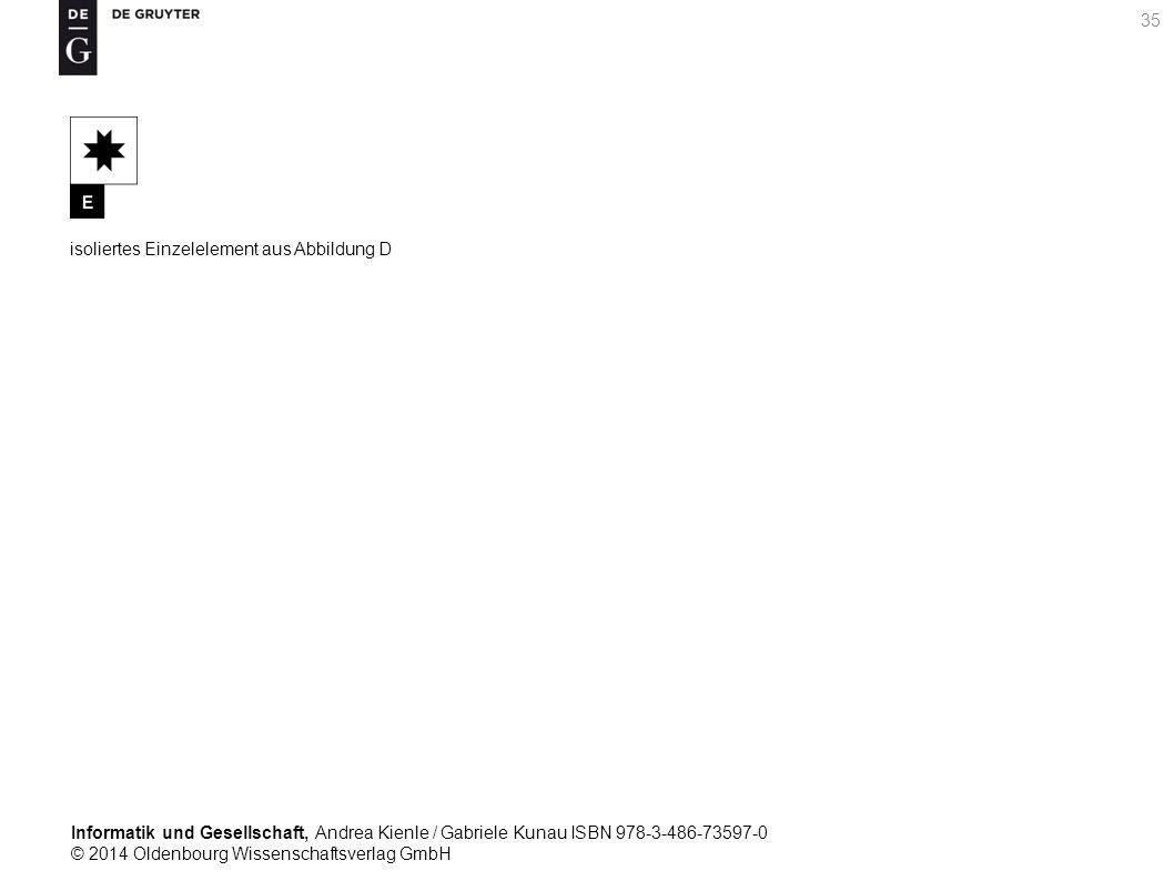 Informatik und Gesellschaft, Andrea Kienle / Gabriele Kunau ISBN 978-3-486-73597-0 © 2014 Oldenbourg Wissenschaftsverlag GmbH 35 isoliertes Einzelelement aus Abbildung D