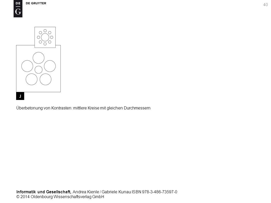 Informatik und Gesellschaft, Andrea Kienle / Gabriele Kunau ISBN 978-3-486-73597-0 © 2014 Oldenbourg Wissenschaftsverlag GmbH 40 Überbetonung von Kontrasten: mittlere Kreise mit gleichen Durchmessern