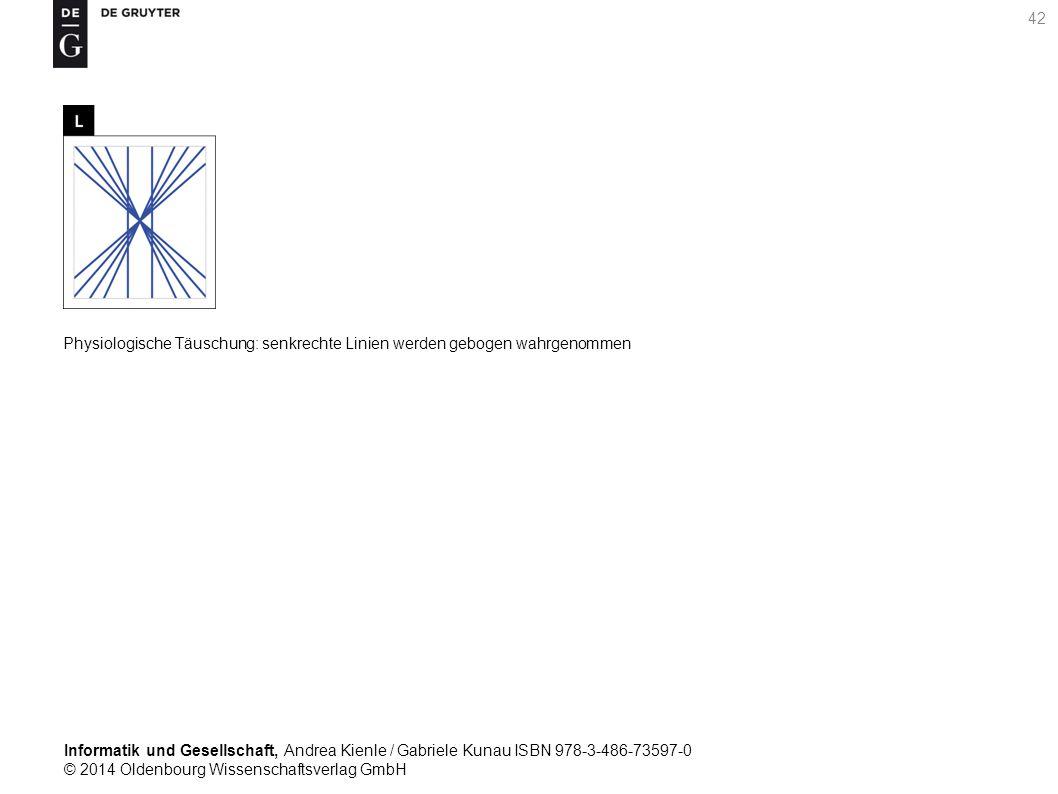 Informatik und Gesellschaft, Andrea Kienle / Gabriele Kunau ISBN 978-3-486-73597-0 © 2014 Oldenbourg Wissenschaftsverlag GmbH 42 Physiologische Täuschung: senkrechte Linien werden gebogen wahrgenommen