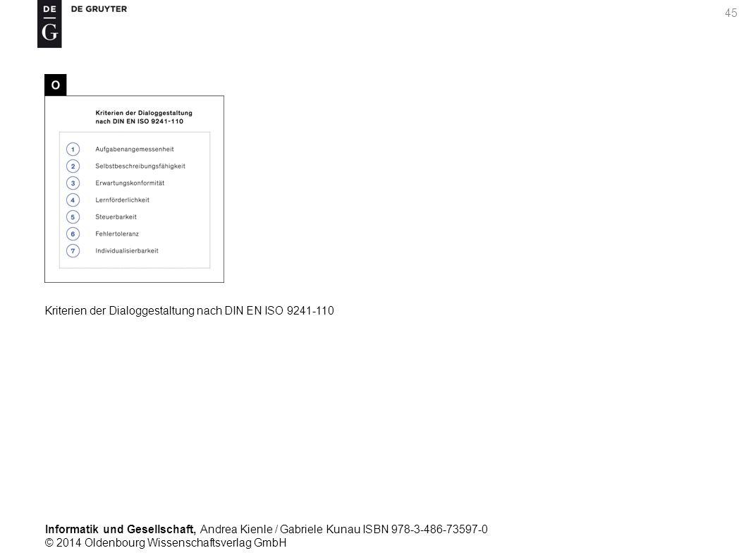 Informatik und Gesellschaft, Andrea Kienle / Gabriele Kunau ISBN 978-3-486-73597-0 © 2014 Oldenbourg Wissenschaftsverlag GmbH 45 Kriterien der Dialoggestaltung nach DIN EN ISO 9241-110