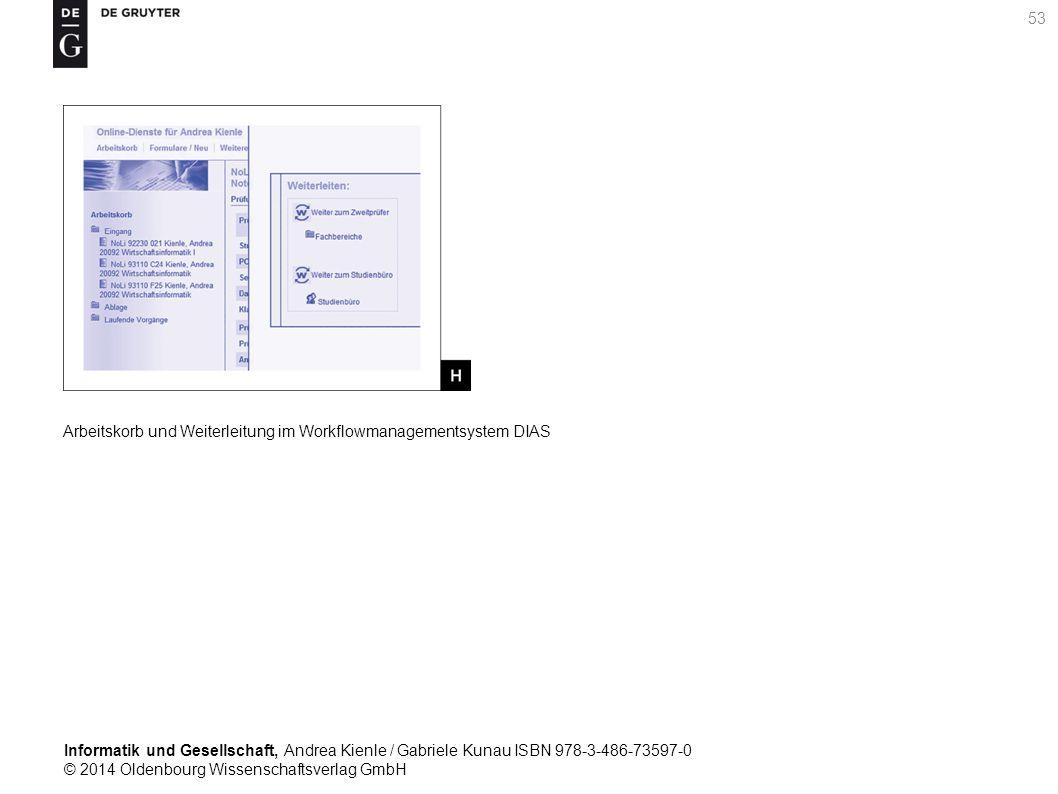 Informatik und Gesellschaft, Andrea Kienle / Gabriele Kunau ISBN 978-3-486-73597-0 © 2014 Oldenbourg Wissenschaftsverlag GmbH 53 Arbeitskorb und Weiterleitung im Workflowmanagementsystem DIAS