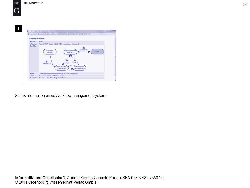 Informatik und Gesellschaft, Andrea Kienle / Gabriele Kunau ISBN 978-3-486-73597-0 © 2014 Oldenbourg Wissenschaftsverlag GmbH 54 Statusinformation eines Workflowmanagementsystems