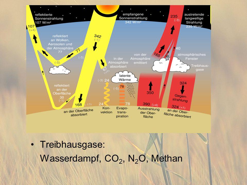 Treibhausgase: Wasserdampf, CO 2, N 2 O, Methan