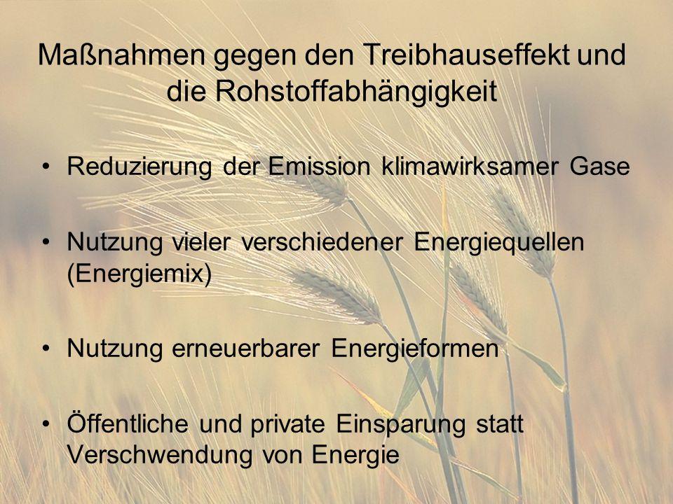 Maßnahmen gegen den Treibhauseffekt und die Rohstoffabhängigkeit Reduzierung der Emission klimawirksamer Gase Nutzung vieler verschiedener Energiequellen (Energiemix) Nutzung erneuerbarer Energieformen Öffentliche und private Einsparung statt Verschwendung von Energie