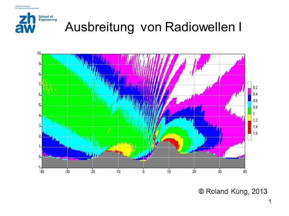 32 Streuung (Scattering) Empfangsleistung (linear) RCS = Radar Cross Section [m 2 ] Applikation Radar: d t = d r d t Distanz zum Sender d r Distanz zum Empfänger Neue Kugelwellen