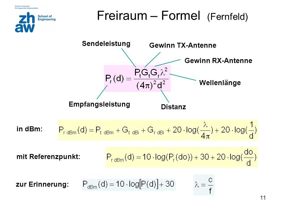 11 Freiraum – Formel (Fernfeld) Empfangsleistung Sendeleistung Wellenlänge Gewinn TX-Antenne Gewinn RX-Antenne Distanz in dBm: mit Referenzpunkt: zur