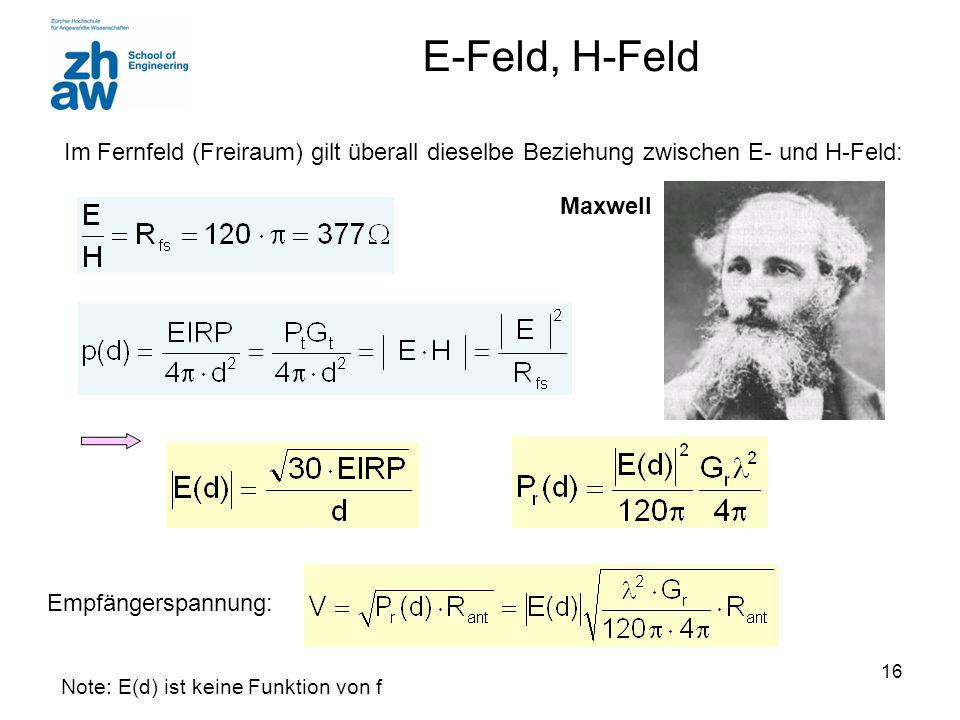 16 E-Feld, H-Feld Im Fernfeld (Freiraum) gilt überall dieselbe Beziehung zwischen E- und H-Feld: Maxwell Empfängerspannung: Note: E(d) ist keine Funkt
