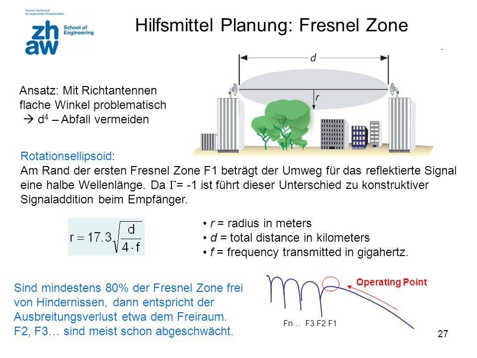 27 r = radius in meters d = total distance in kilometers f = frequency transmitted in gigahertz. Sind mindestens 80% der Fresnel Zone frei von Hindern