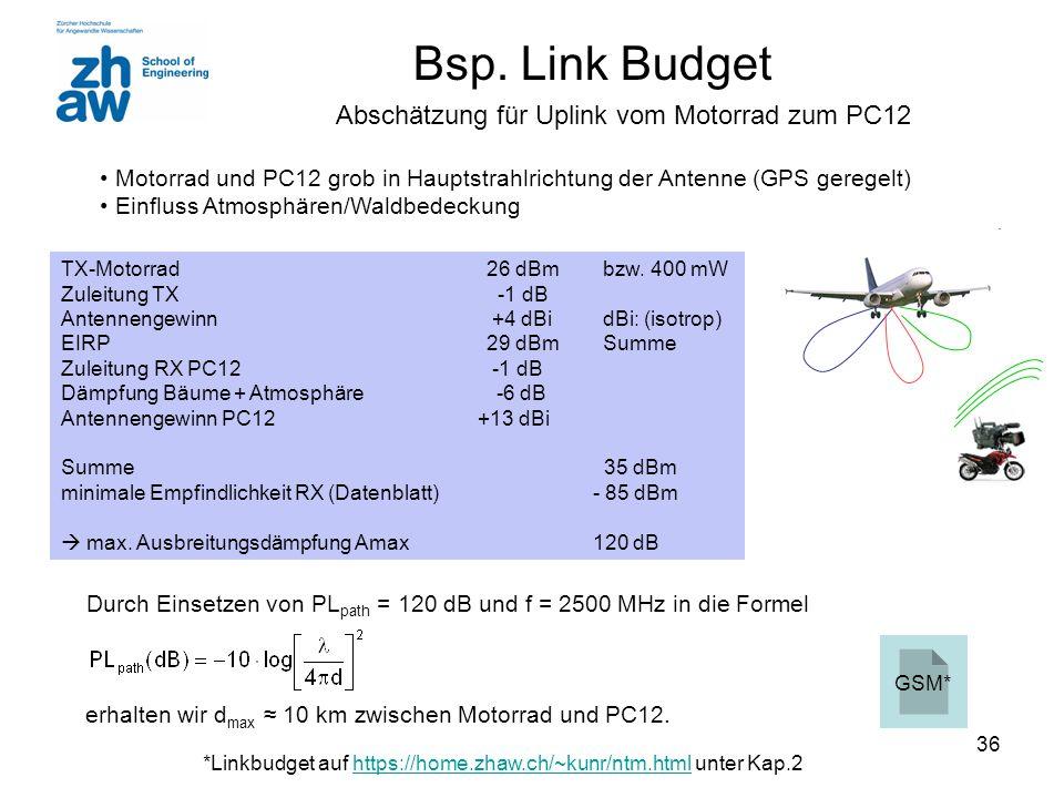 36 Bsp. Link Budget erhalten wir d max ≈ 10 km zwischen Motorrad und PC12. Motorrad und PC12 grob in Hauptstrahlrichtung der Antenne (GPS geregelt) Ei