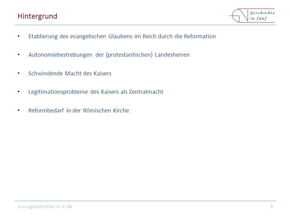 www.geschichte-in-5.de Hintergrund Etablierung des evangelischen Glaubens im Reich durch die Reformation Autonomiebestrebungen der (protestantischen)