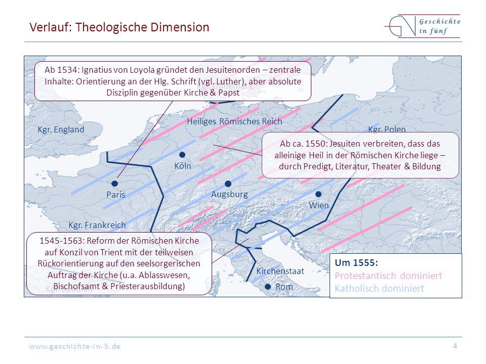 www.geschichte-in-5.de Verlauf: Theologische Dimension 4 Kgr. Spanien Kgr. England Köln Augsburg Rom Paris Kgr. Polen Kgr. Dänemark Kgr. Frankreich Um