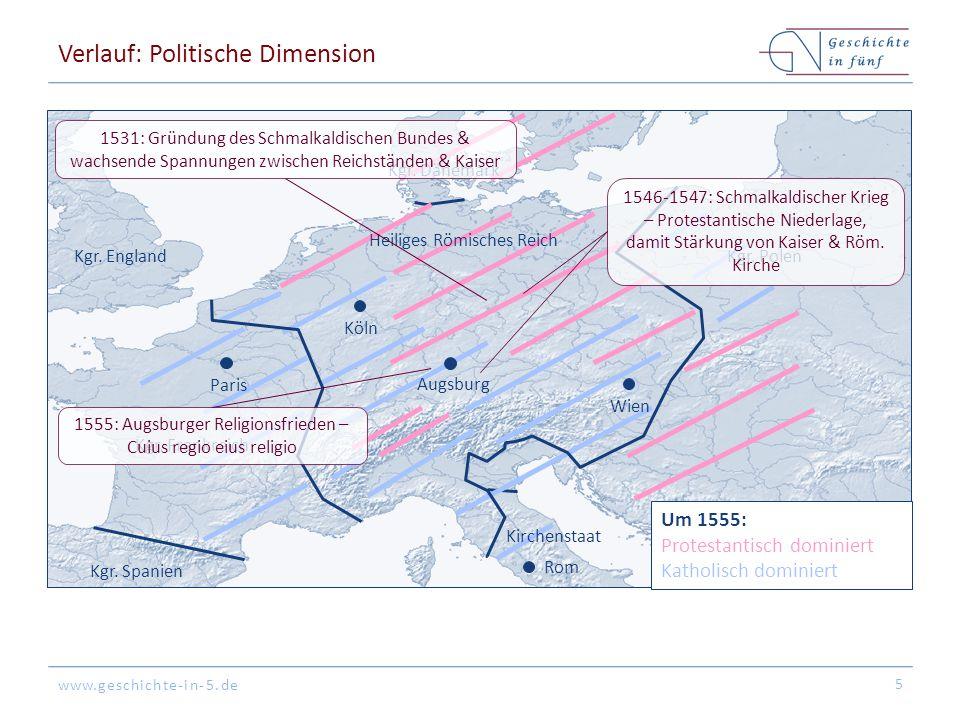 www.geschichte-in-5.de Verlauf: Politische Dimension 5 Kgr. Spanien Kgr. England Köln Augsburg Rom Paris Kgr. Polen Kgr. Dänemark Kgr. Frankreich Um 1