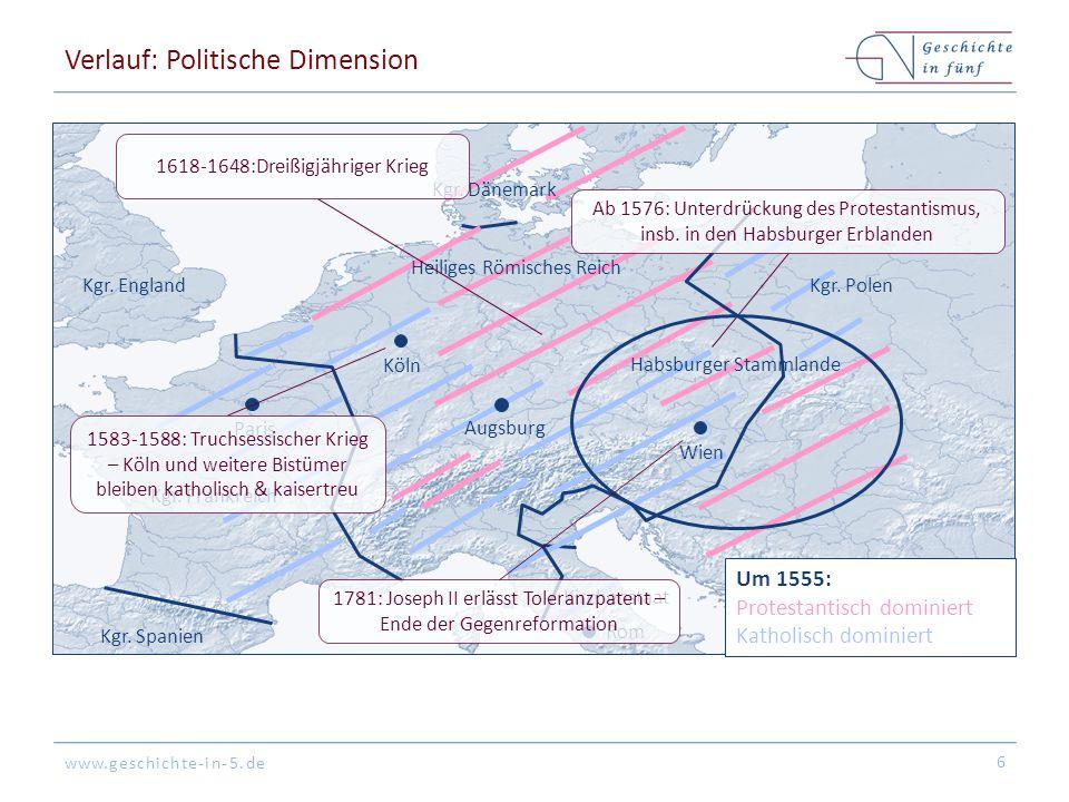 www.geschichte-in-5.de Verlauf: Politische Dimension 6 Kgr. Spanien Kgr. England Köln Augsburg Rom Paris Kgr. Polen Kgr. Dänemark Kgr. Frankreich Um 1