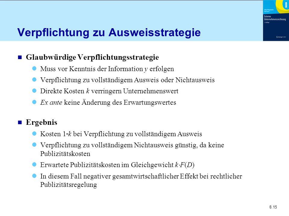 8.15 Verpflichtung zu Ausweisstrategie n Glaubwürdige Verpflichtungsstrategie Muss vor Kenntnis der Information y erfolgen Verpflichtung zu vollständi