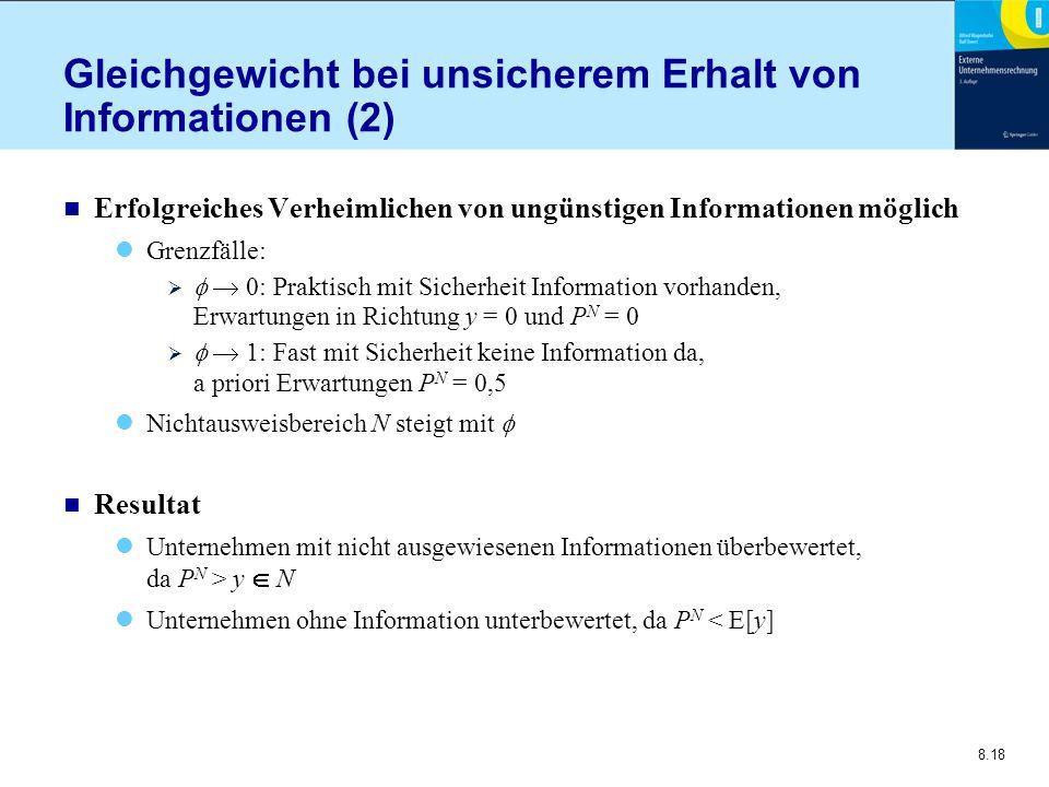 8.18 Gleichgewicht bei unsicherem Erhalt von Informationen (2) n Erfolgreiches Verheimlichen von ungünstigen Informationen möglich Grenzfälle:    0