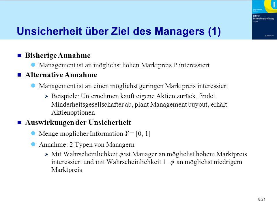8.21 Unsicherheit über Ziel des Managers (1) n Bisherige Annahme Management ist an möglichst hohen Marktpreis P interessiert n Alternative Annahme Man