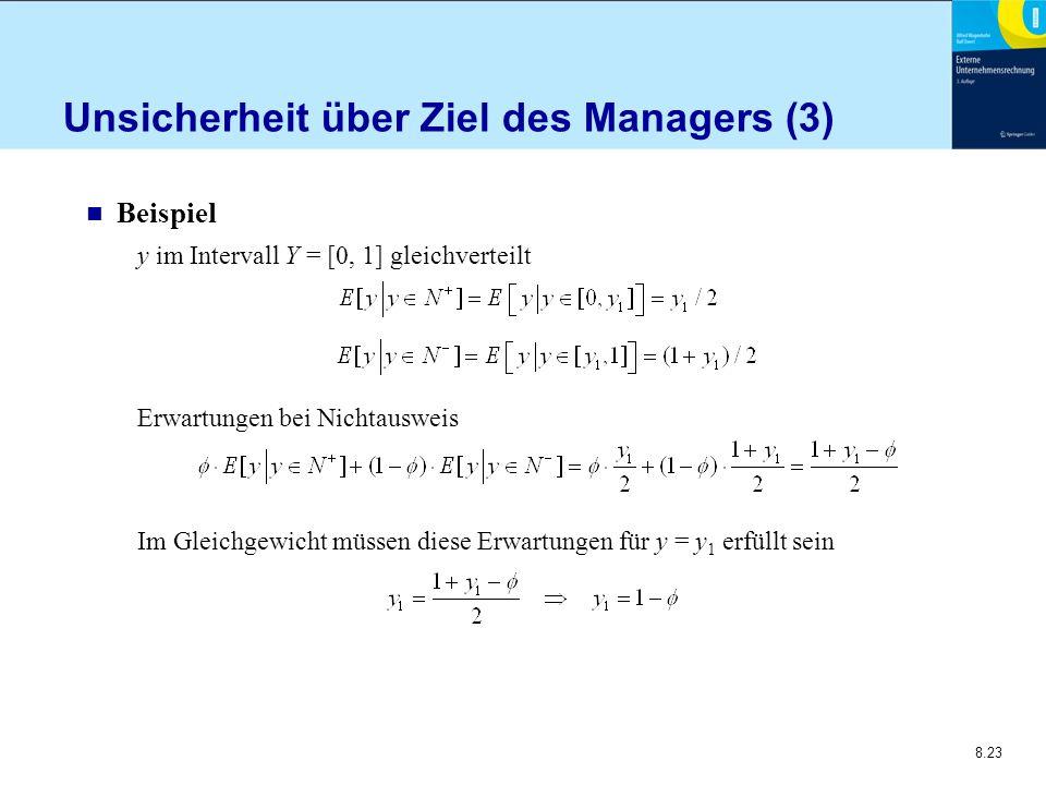 8.23 Unsicherheit über Ziel des Managers (3) n Beispiel y im Intervall Y = [0, 1] gleichverteilt Erwartungen bei Nichtausweis Im Gleichgewicht müssen
